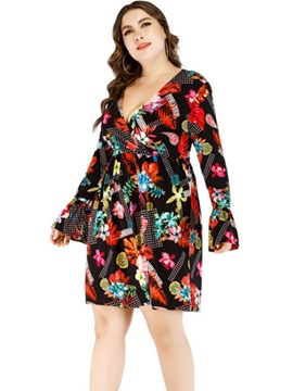 Ericdress Plus Size Above Knee V-Neck Floral Print Dress