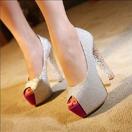 Ericdress Sequin Peep Toe Chunky Heel Women's Pumps