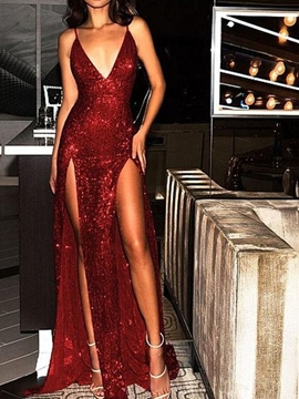 Ericdress Sheath/Column Sequins Evening Dress With Slit 2019