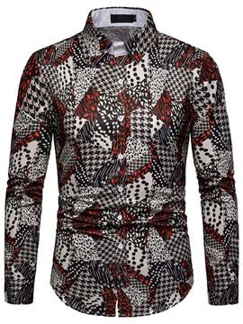 Ericdress Geometric Print Single-Breasted Mens Casual Shirt