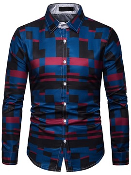 Ericdress Geometric Pattern Print Mens Single-Breasted Shirt