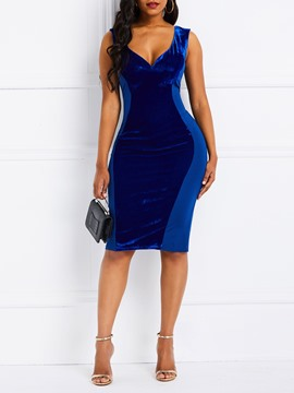 Ericdress Knee-Length Sleeveless Bodycon Plain Dress