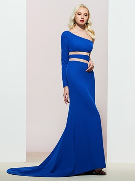 One Shoulder Long Sleeve Trumpet Evening Dress