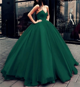 V-Neck Ball Gown Floor-Length Sleeveless Prom Dress
