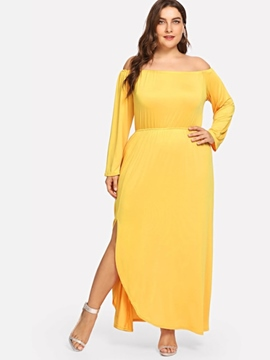 Ericdress Plus Size Split Regular Plain Standard-Waist Dress