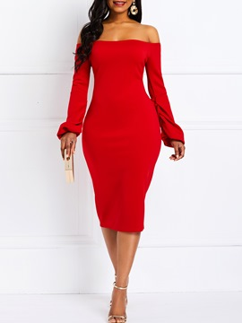 ericdress bodycon aus der schulter langarm party rotes kleid