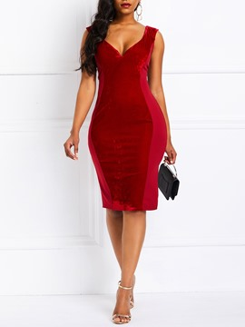 Ericdress Satin Sleeveless Knee-Length Bodycon Dress
