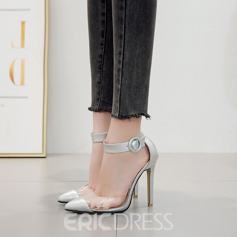 Ericdress PVC Stiletto Heel Pointed Toe Line-Style Buckle Women's Sandals