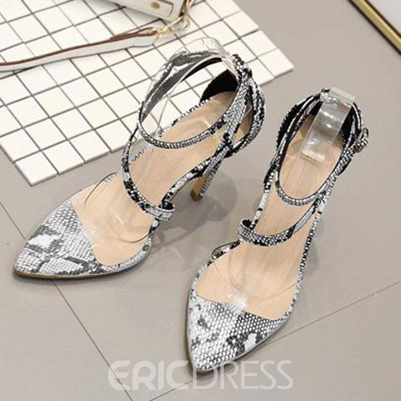 Ericdress Serpentine PVC Pointed Toe Line-Style Buckle Women's Sandals