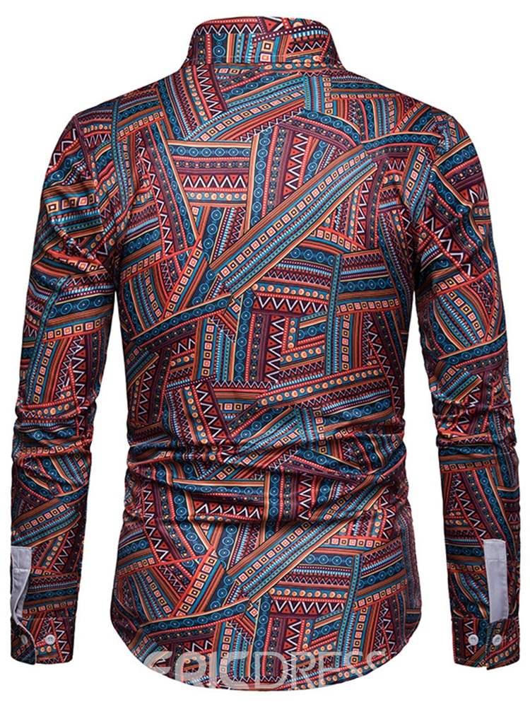 Ericdress Printed Ethnic Style Lapel Mens Single-Breasted Slim Shirt