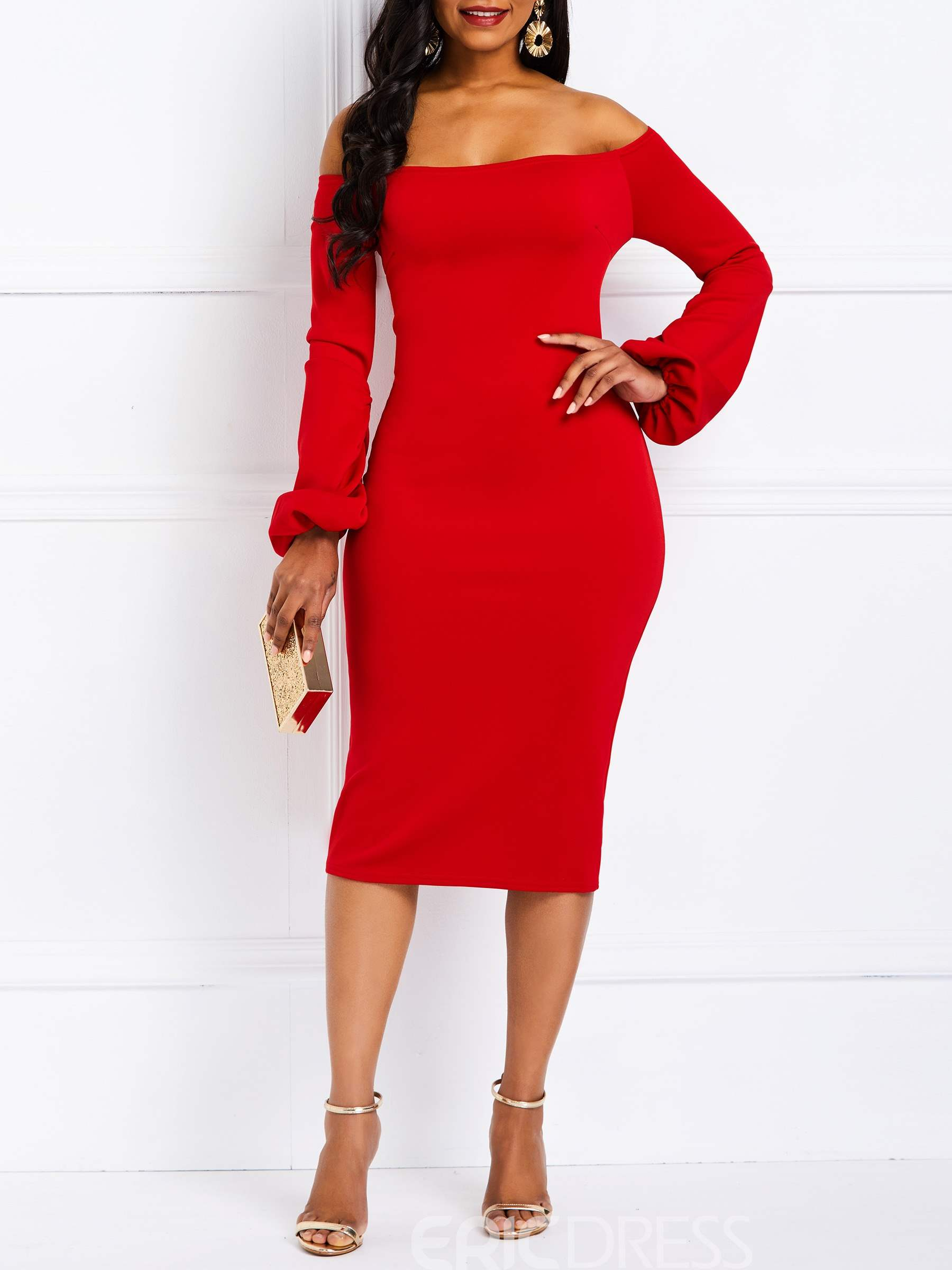 Ericdress Bodycon Off the Shoulder Long Sleeve Party Red Dress