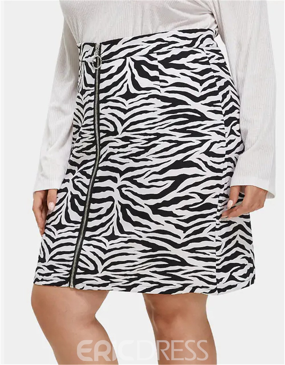 Ericdress Plus Size Zipper Zebra-Stripe Casual High Waist Skirt