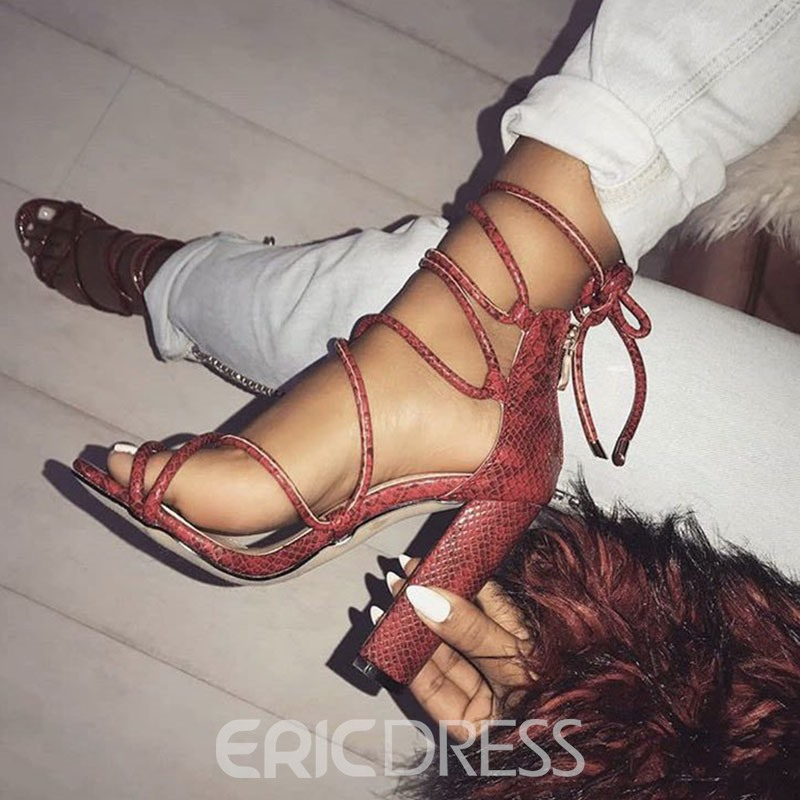 Ericdress Serpentine Cross Strap Chunky Heel Women's Sandals