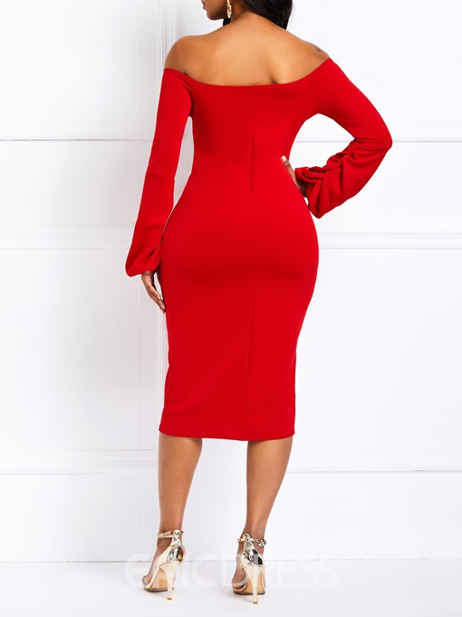 Ericdress Bodycon Off Shoulder Long Sleeve Party Red Dress