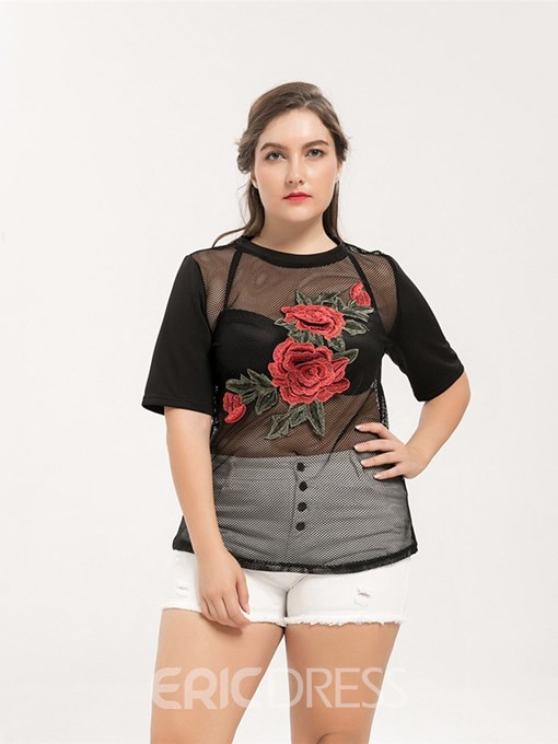 Ericdress Embroidery See-Through Plus Size Casual T-Shirt