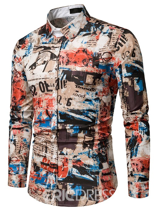 Ericdress Printed Lapel Single-Breasted Mens Casual Shirts