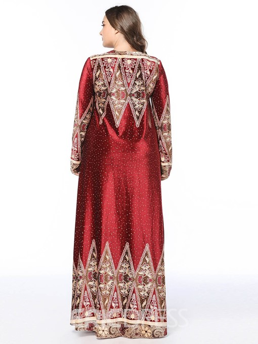 Ericdress Plus Size African Fashion Floor-Length Cocktail Geometric Dress