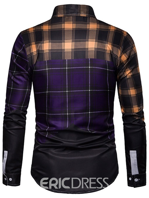 Ericdress Patchwork Plaid Printed Lapel Mens Casual Shirt