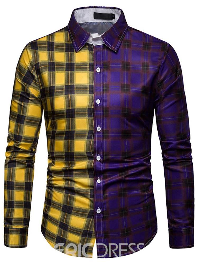 Ericdress Color Block Plaid Single-Breasted Mens Casual Shirt