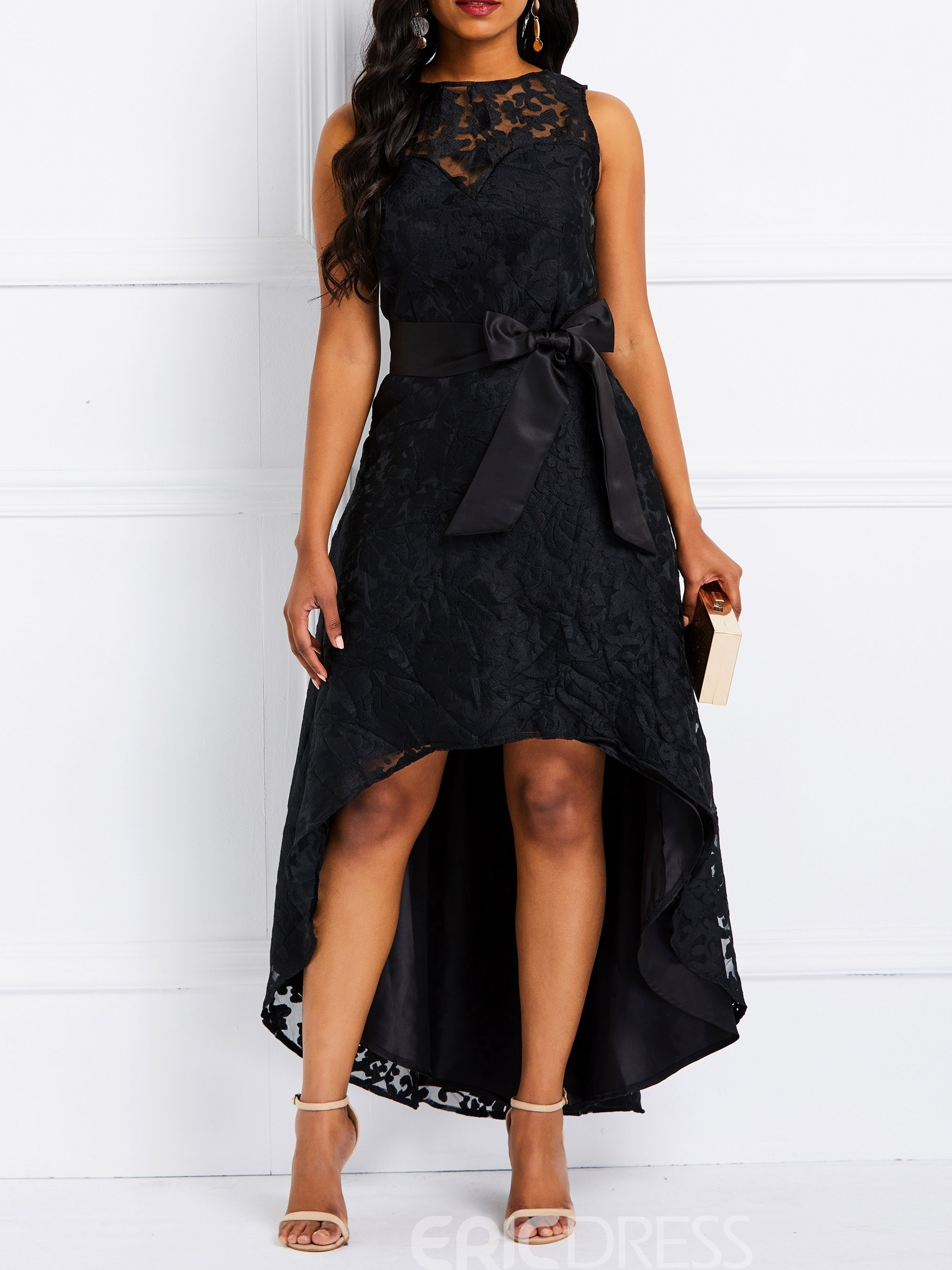 Ericdress Ankle-Length Sleeveless Lace Elegant Party Dress