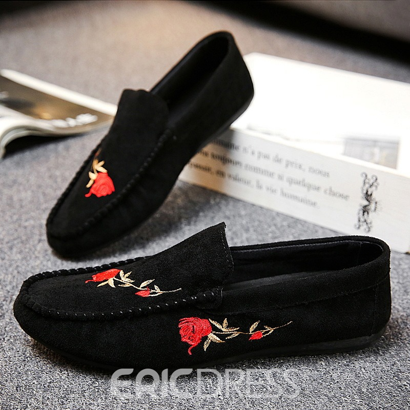 Ericdress Floral Slip-On Flat Heel Cotton Thin Shoes Men's Oxfords
