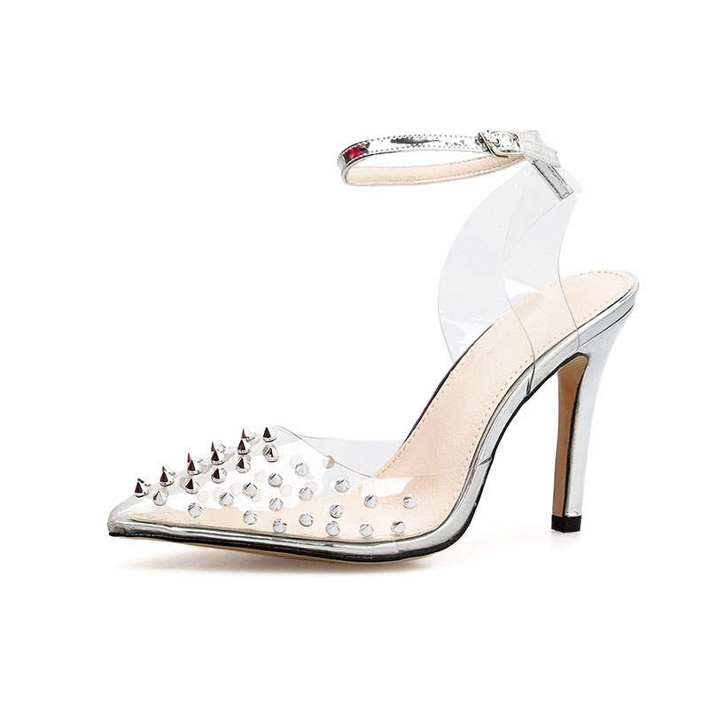 Ericdress PVC Line-Style Buckle Pointed Toe Stiletto Heel Women's Sandals