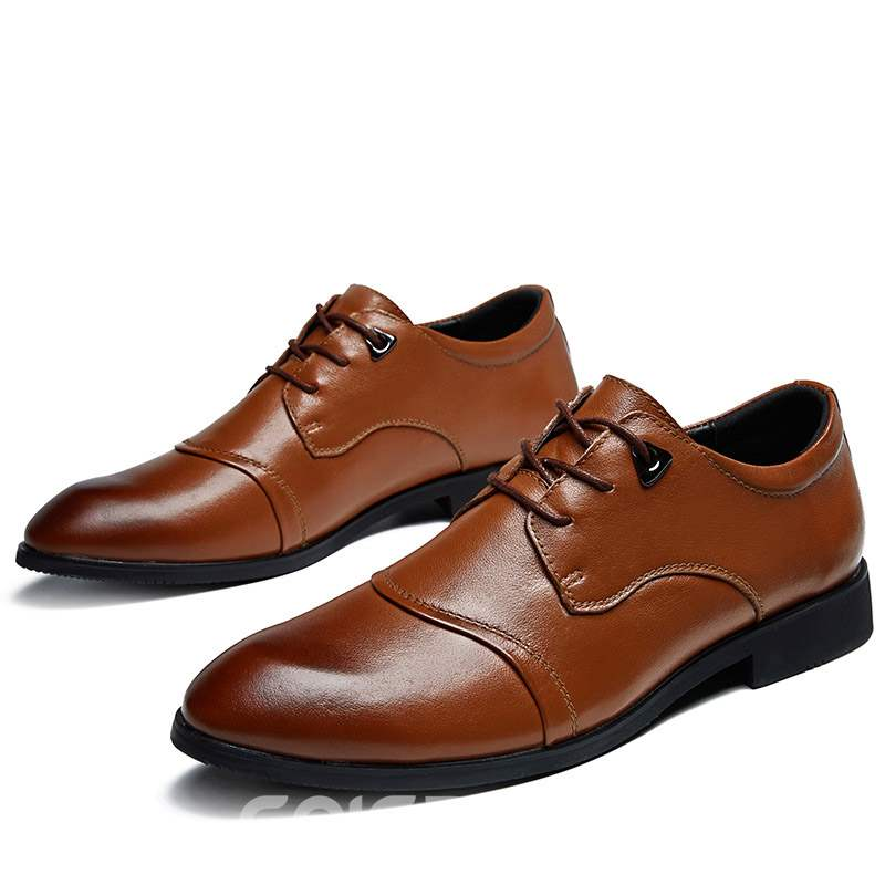 Ericdress PU Lace-Up Round Toe Men's Shoes