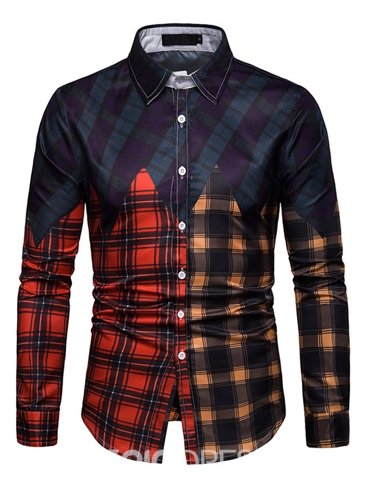 Ericdress Plaid Color Block Single-Breasted Mens Casual Shirt