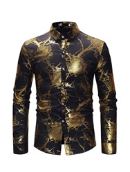 Ericdress Floral Print Button Up Mens Casual Party Shirt фото