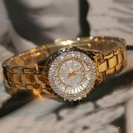 ericdress ronde montre quartz diamante