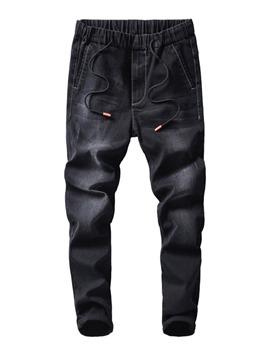 Ericdress Plain Lace-Up Mid-Waist Mens Casual Jeans