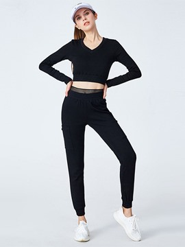 Ericdress Anti-Sweat Cotton Solid Patchwork Yoga Clothing Sets
