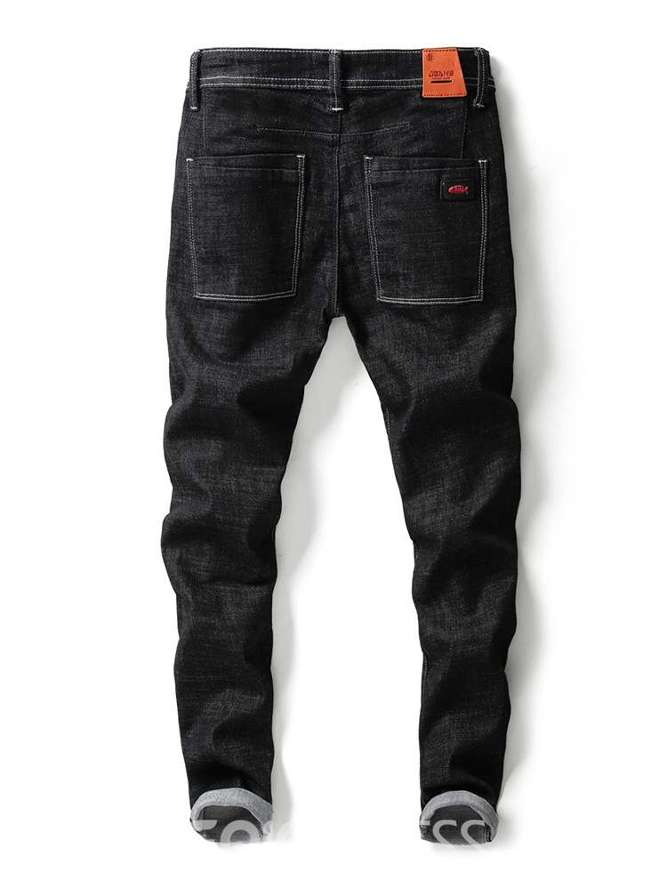 Ericdress Letter Printed Plain Worn Mens Casual Jeans
