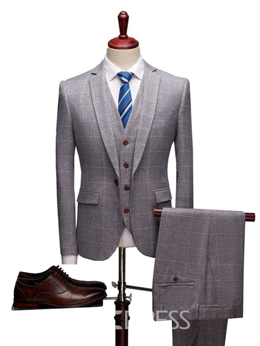 Ericdress One Button Plaid Mens Casual Business Suit