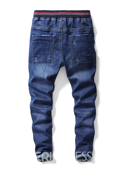 Ericdress Plain Worn Color Block Lace Up Mens Casual Jeans