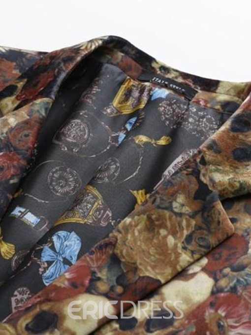 Ericdress Floral Printed One Button Mens Casual Party Blazer