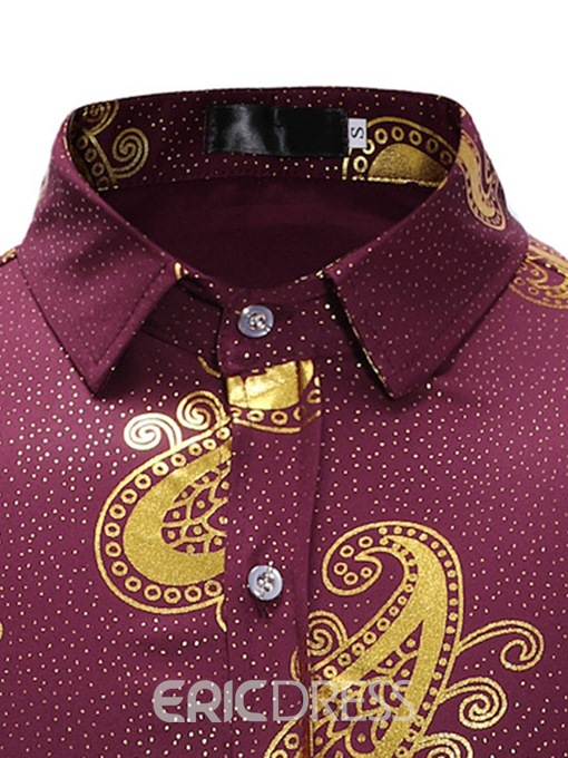 Ericdress Print Lapel Single-Breasted Mens Slim Casual Shirt