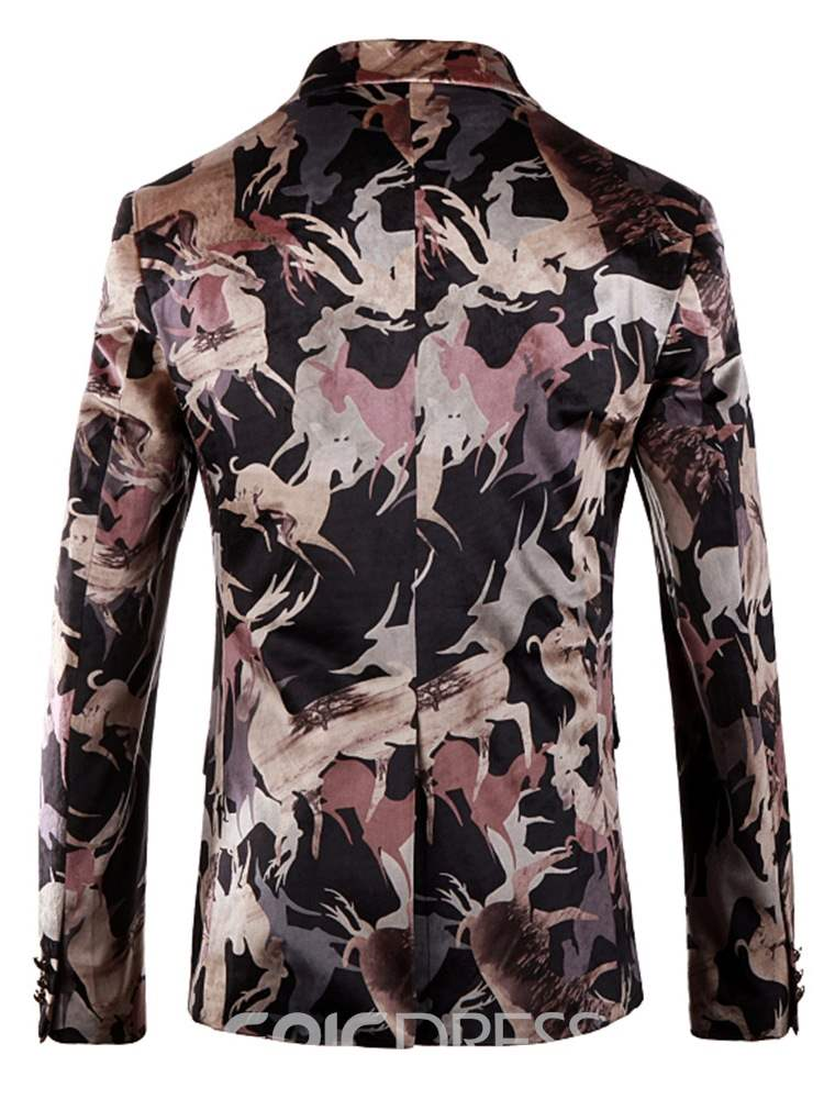 Ericdress Floral Animal Print Mens Casual Party Blazer