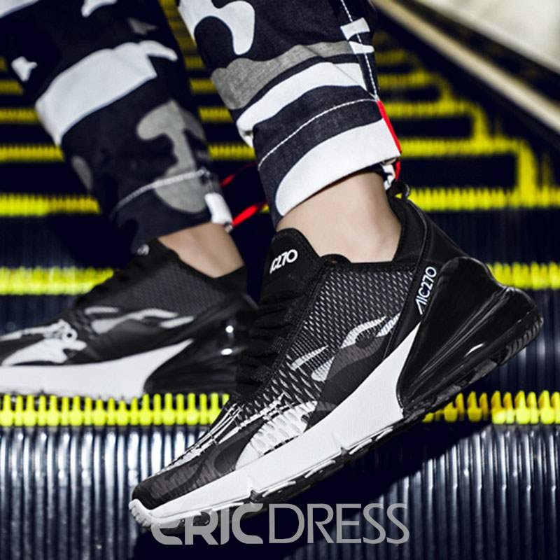 Ericdress Mesh Color Block Lace-Up Round Toe Men's Comfortable Sneakers