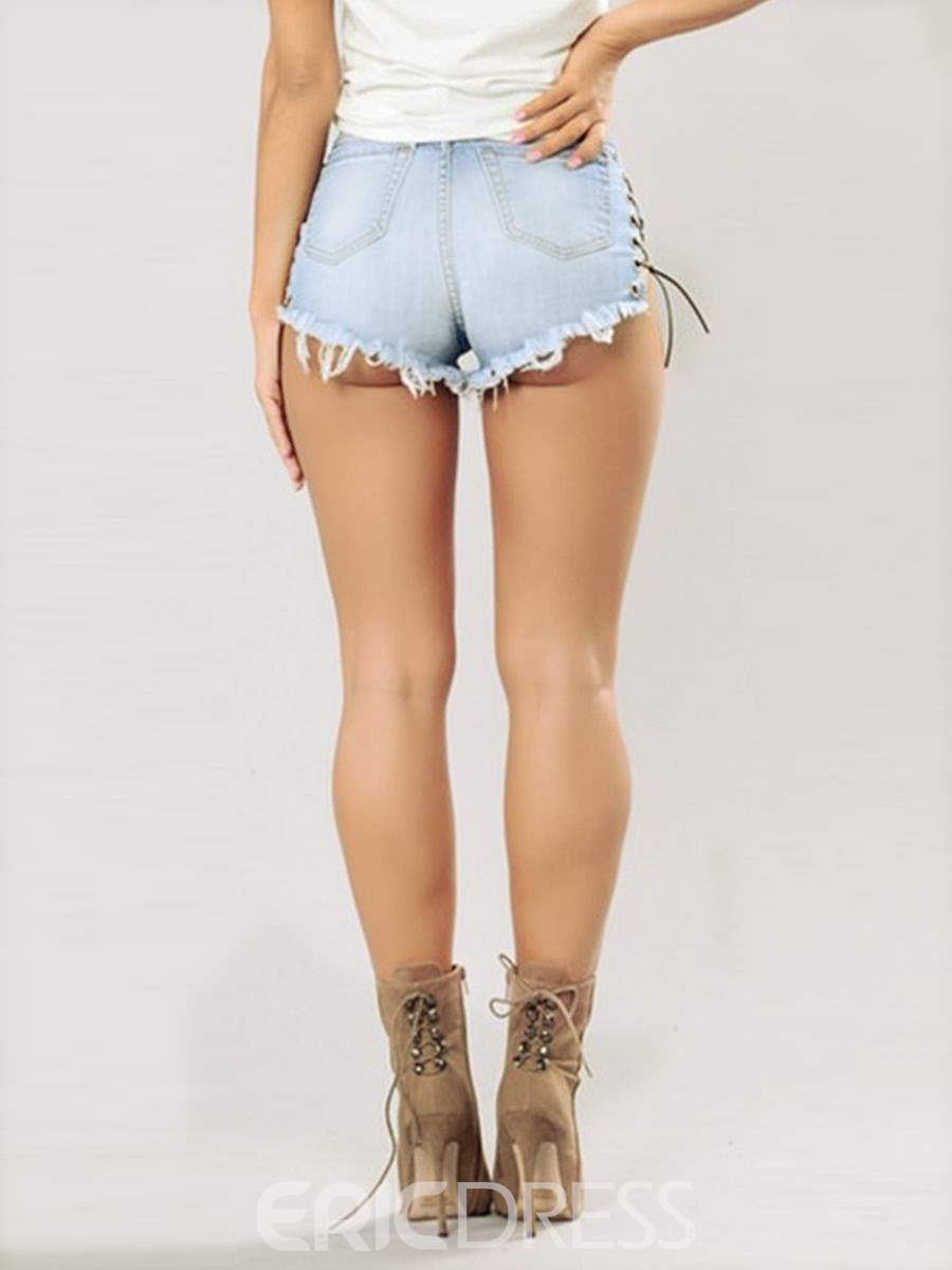 Ericdress Lace-Up Ripped Women's Shorts