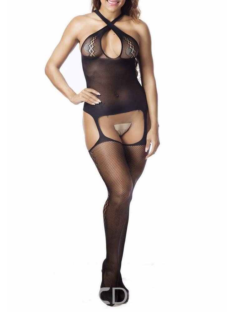34345a9f2 Ericdress Plain Hollow Crotchless Tights Halter Bodystocking  Teddies(13721616)