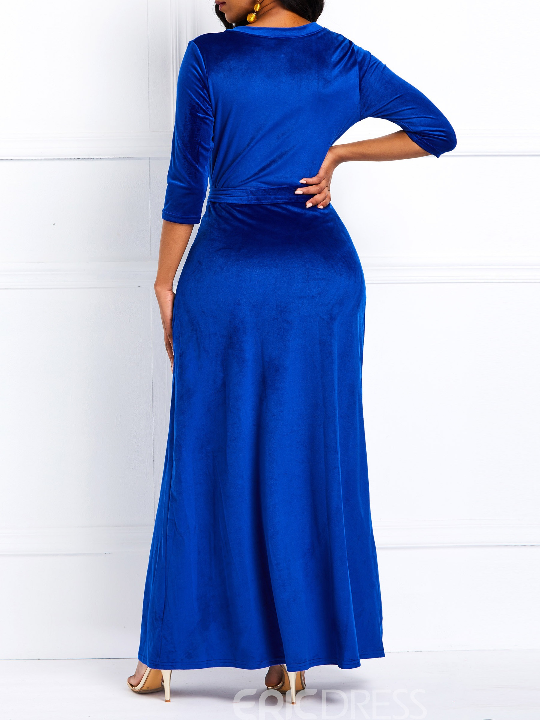 Ericdress Lace-Up Split Ankle-Length Three-Quarter Sleeve Party Dress