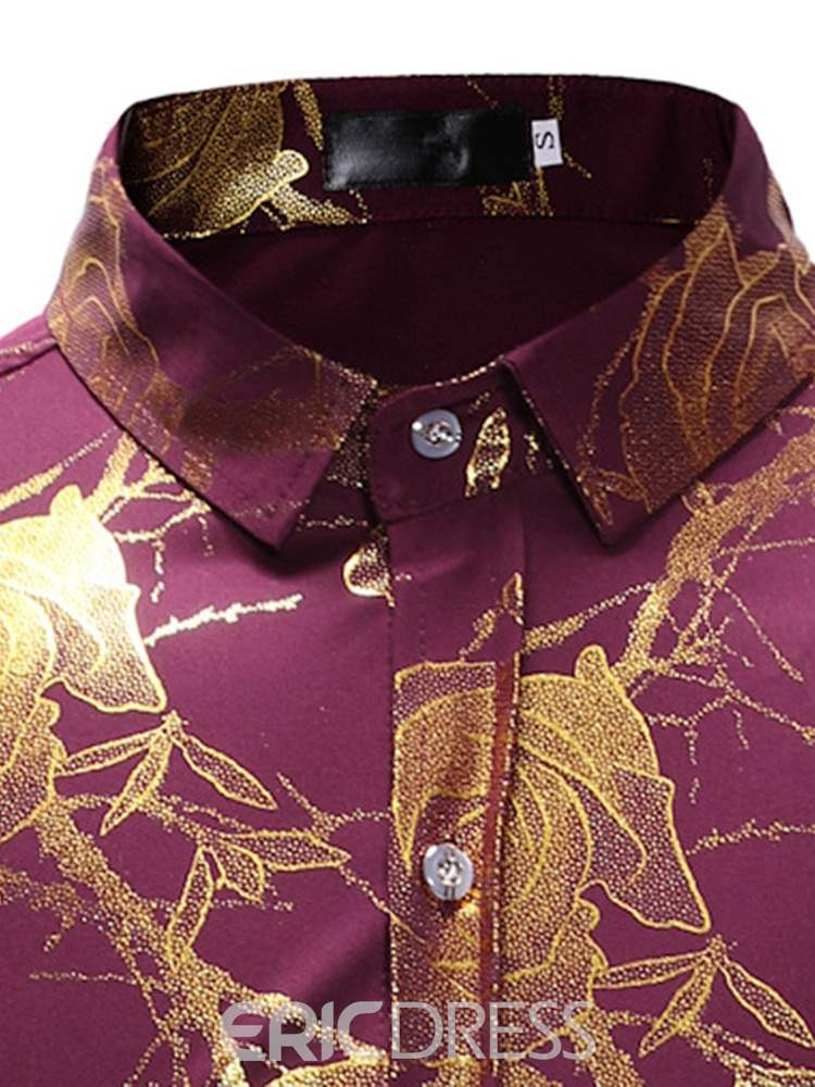 Ericdress Floral Print Button Up Mens Casual Party Shirt