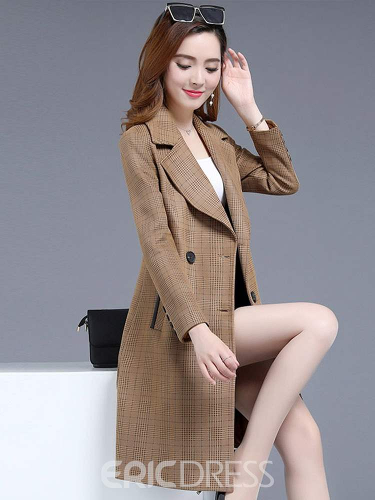 Ericdress Mid-Length Notched Lapel Double-Breasted Long Sleeve Regular Trench Coat