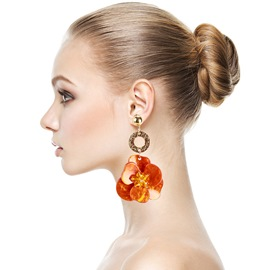 Ericdress Alloy Floral Orange Earrings