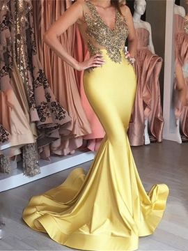 Ericdress Sexy V-Neck Mermaid Evening Dress 2019