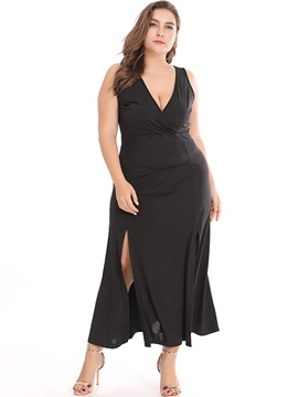 Ericdress Plus Size Split Mid-Calf Sleeveless Pullover Sexy Dress