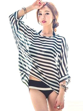 Ericdress Striped Asymmetric Beach Tops