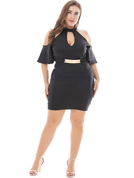 ericdress plus size über dem knie halben bodycon pullover dress