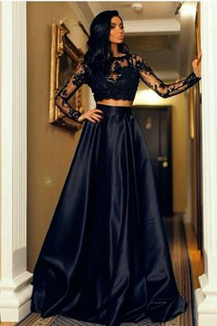 A-Line Long Sleeves Floor-Length Scoop Evening Dress
